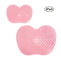 Makeup Brush Cleaning Mat, LEOKOR Makeup Brush Cleaner Mat Set of 2 Cosmetic Brush Cleaning Mat Washing Tool with Suction Cup (Pink)