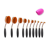 Micup 10 Pcs Professional Oval Makeup Brushes Set