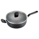 T-fal A68833 Soft Sides Nonstick Thermo-Spot Dishwasher Safe Oven Safe Saute Pan / Jumbo Cooker Cookware, 4.2-Quart, Black