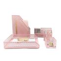 Blu Monaco Pink 5pc Desk Organizer