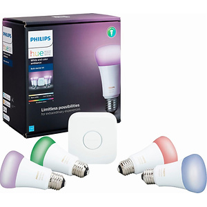 Philips Hue White and Color Ambiance A19 LED Starter Kit + 2X Google Home Mini