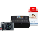 Canon Refurbished PowerShot SX730 HS Black & Selphy CP1200 Black Bundle