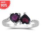 GARNET AND WHITE TOPAZ DOUBLE HEART RING IN .925 STERLING SILVER