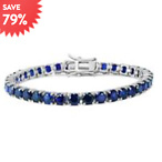 18 CARAT TW CREATED BLUE SAPPHIRE TENNIS BRACELET IN .925 STERLING SILVER