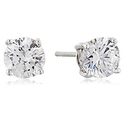 Platinum Plated Sterling Silver Stud Earrings set with Round Cut Swarovski Zirconia