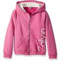 Calvin Klein Toddler Girls' Logo Zip Front Hoodie, Medium Pink Heather, 4T