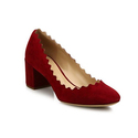 Chloé Lauren Scalloped Suede Block Heel Pumps
