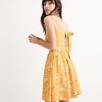 Silk Fleur Bow-Back Dress
