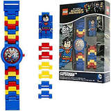 LEGO DC Comics 8020257 Super Heroes Superman Kids Minifigure Link Buildable Watch | blue/red | plastic | 28mm case diameter| analog quartz | boy girl | official