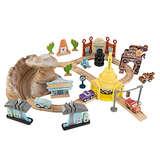KIDKRAFT Disney Pixar Cars 3 Radiator Springs 50 Piece Wooden Track Set with Accessories
