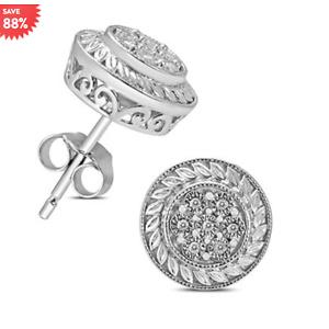 Engraved Diamond Cluster Stud Earrings in .925 Sterling Silver