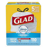 Glad OdorShield Tall Kitchen Drawstring Trash Bags 13 Gallon 110 Count