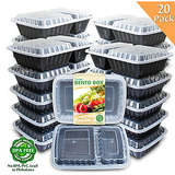 Enther 2 Compartment Meal Prep Containers - 20 Pack