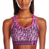 Under Armour Women's Mid Printed Sports Bra, Rebel Pink (655)/Black, X-Small