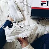 FILA Women's Disruptor II Premium Lace Up Leather Dad Sneakers