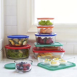 Pyrex 18-pc Storage Set with Colored Lids