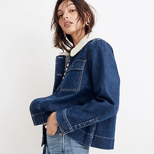 Madewell Denim Northward Cropped Army Jacket -Sherpa Edition