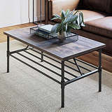 Nathan James Industrial Pipe Metal and Rustic Wood Coffee Table