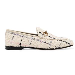 GUCCI Jordaan horsebit-detailed leather-trimmed bouclé-tweed loafers