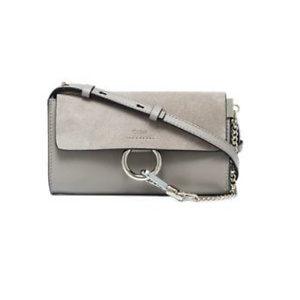 CHLOÉ grey Faye leather and suede cross-body bag