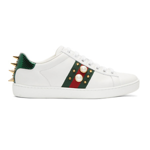 Gucci White Pearl Stud New Ace Sneakers