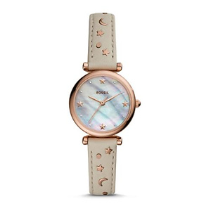Fossil Carlie Mini Three-Hand Winter White Leather Watch