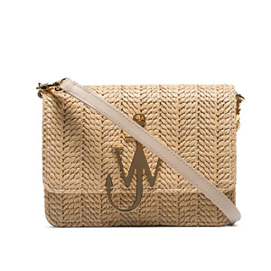 JW ANDERSON beige logo-plaque woven-straw bag