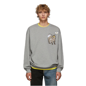 Acne Studios  Grey Mélange Forba Animal-Embroidered Sweater