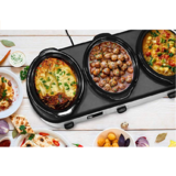 Elite Platinum EWMST-612 Triple Slow Cooker Buffet Server, Adjustable Temp Dishwasher-Safe Oval Ceramic Pots, Lid Rests, 3 x 2.5Qt Capacity, 7.5 QT, Stainless Steel $29.99
