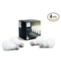Philips Hue White A19 4-Pack 60W Equivalent Dimmable LED Smart Bulb 4pk