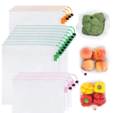 GOGOODA 15 Pcs Premium Reusable Produce Bags, 3 Size Lightweight Washable See Through Mesh Shopping Merchandise Bags with Drawstring, Toggle Tare Weight Color Tag $9.34