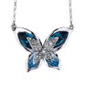 "SIVERY ""Butterfly"" 海洋蓝 施华洛世奇水晶 蝴蝶吊坠项链 原价 $99.99,现点击Coupon仅需 $22.94,免运费"