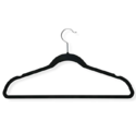Honey-Can-Do HNG-01884 Thin Non-Slip Velvet Hangers, Black, 50-Pack