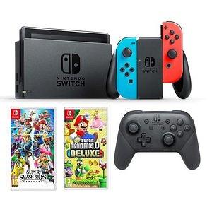 NS + Switch Pro Controller + Smash Bros & Mario Deluxe U Bundle