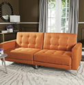 Safavieh Livingston Collection LVS2000A Soho Orange Tufted Foldable Sofa Bed