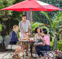 Abba Patio Outdoor Patio 9-Feet Aluminum Market Table Umbrella with Push Button Tilt and Crank, Red