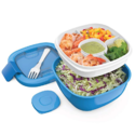 Bentgo Salad (Blue) BPA-Free Lunch Container with Large 54-oz Salad Bowl, 3-Compartment Bento-Style Tray for Salad Toppings and Snacks, 3-oz Sauce Container for Dressings $14.99