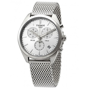 TISSOT PR 100 Chronograph Silver Dial Mesh Bracelet Men's Watch Item