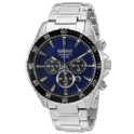Seiko Men's Solar Chronograph Silvertone Watch with Blue Dial $147.98, free shipping