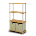 Furinno NW889BE/WH Go Green 4-Tier Multipurpose Storage Rack w/Bins, Beech/White $26.00,free shipping