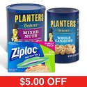 Planters Deluxe Mixed Nuts, Deluxe Whole Cashews, & Ziploc Sandwich Bags