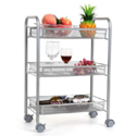 Homfa 3-Tier Mesh Wire Rolling Cart Multifunction Utility Cart Kitchen Storage Cart on Wheels, Steel Wire Basket Shelving Trolley,Easy Moving,Silver $29.99,free shipping
