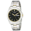 Citizen Men's Quartz Two-Tone Bracelet Watch With Black Dial $68.42,free shipping