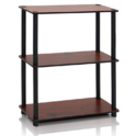 Furinno 10024WN/BR Turn-N-Tube 3 Compact Multipurpose Shelf, 3-Tier