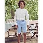 Grandad Collar Shirt - White Slub