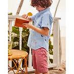 Fun Short-Sleeved Shirt - Multi Chameleon Embroidery