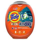 Tide Pods Ultra Oxi Liquid Laundry Detergent Pacs, 73 Count $15.11