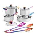 Mainstays 不锈钢锅具厨具10件套 彩虹色