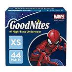 Goodnites 男童夜间尿不湿拉拉裤, XS, 44 片