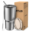 Atlin Tumbler [30 oz. Double Wall Stainless Steel Vacuum Insulation] Travel Mug [Crystal Clear Lid] Water Coffee Cup [Straw Included]For Home,Office,$13.49